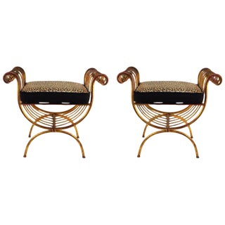Hollywood Regency Italian Gilded Wrought Iron Benches - a Pair