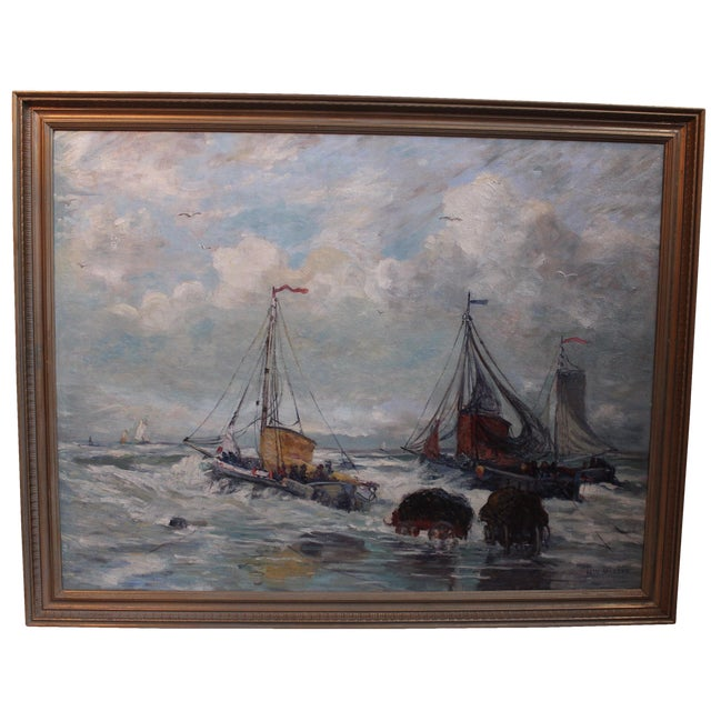 Antique Harbor with Boats Painting - Image 1 of 6
