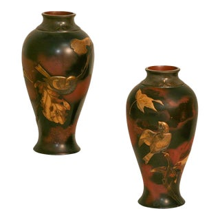 Pair of 19th Century Japanese Aesthetic Movement Mixed Metal Bronze Vases For Sale