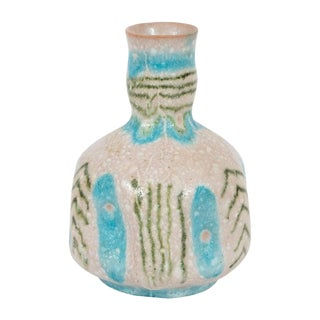 Mid-Century Handcrafted Green and Turquoise Ceramic Vase Signed Guido Gambone For Sale