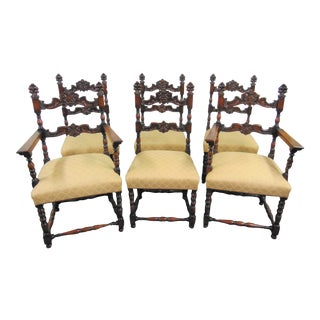 Jacobean Carved Walnut Dining Chairs - Set of 6 For Sale
