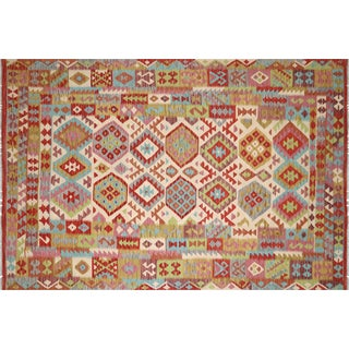 "Nalbandian - Contemporary Afghan Maimana Kilim - 6'6"" X 9'7"" For Sale"