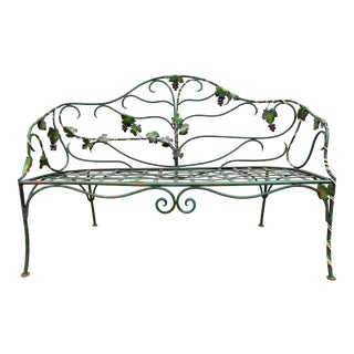Vintage Wrought Iron Grapevine Garden Bench For Sale