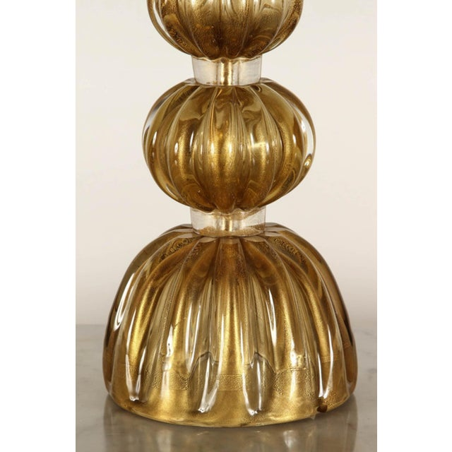 Gold 20th Century Italian Murano Glass Lamps-a Pair For Sale - Image 8 of 9