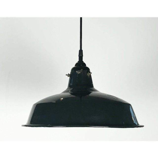 """Modern Black Tole Industrial Hanging Lamps or Lanterns from England (14 1/4"""" Diameter) For Sale - Image 3 of 11"""