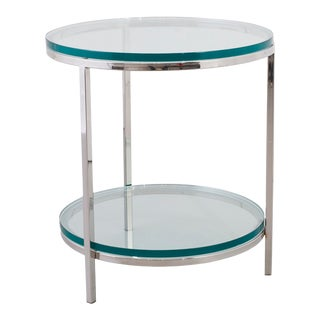 Swaim Polished Stainless Steel End Table For Sale