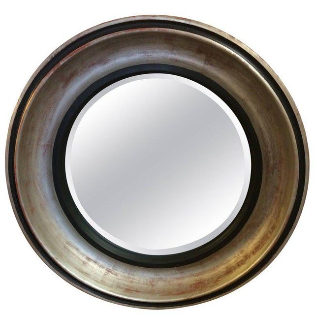 Wood Monumental Silver Leaf Round Architectural Mid-Century Modern Mirror For Sale - Image 7 of 7