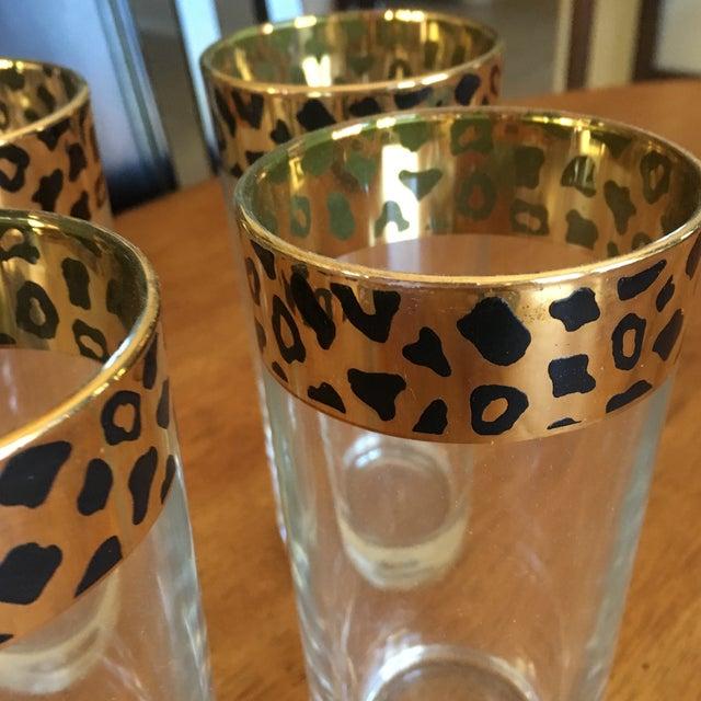 Italian Black & Gold Cheetah Print Glasses - Set of 4 - Image 8 of 10