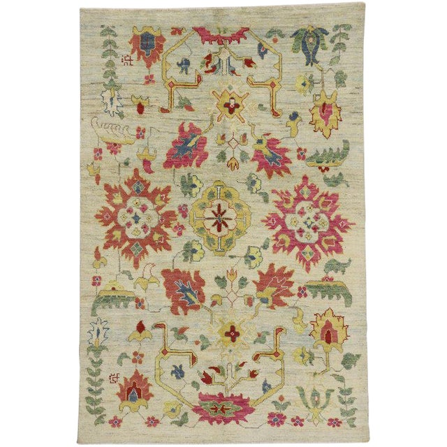 Turkish Oushak Modern Contemporary Style Rug - 6′4″ × 9′7″ For Sale