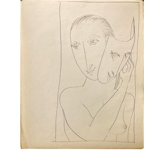 """Don Stacy """"Mask"""" C.1950s Ink Mid Century Female Nude Drawing For Sale"""