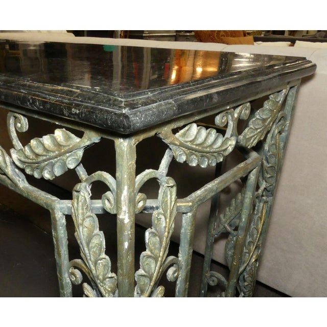 Metal Traditional Maitland Smith Marble Top Iron Console Table For Sale - Image 7 of 13