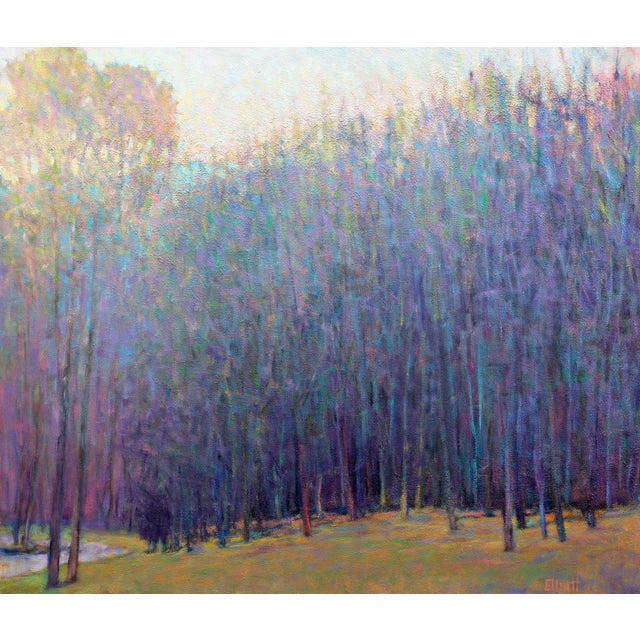 Canvas Ken Elliott, 'At the Ponds Edge, Emerging Spring' Painting, 2017 For Sale - Image 7 of 7