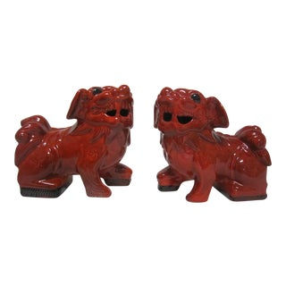 Red Foo Dogs - A Pair For Sale