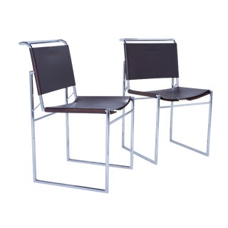 Marcel Breuer B40 Brown Leather & Chrome Corset Dining Chairs-Set of 6 For Sale