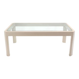 Lacquered Cloth Frame Glass Top rectangular Dining Table Off White Lacquer For Sale