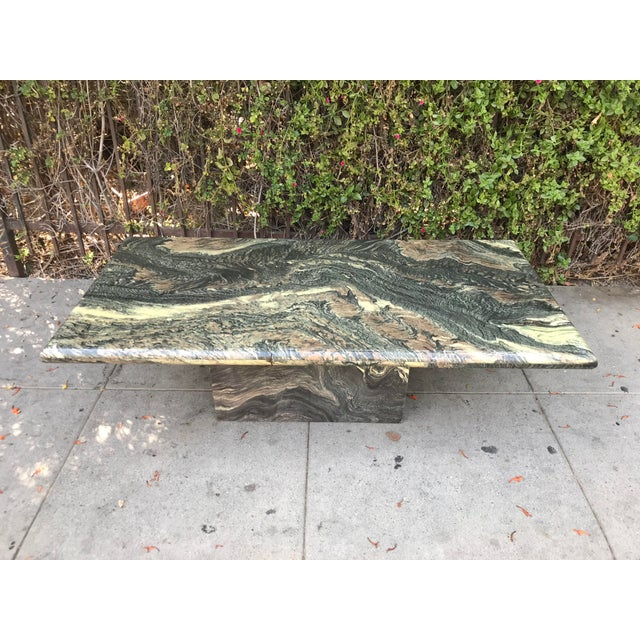 1970s 1970s Organic Modern Solid Black & Cream Marble Coffee Table For Sale - Image 5 of 10