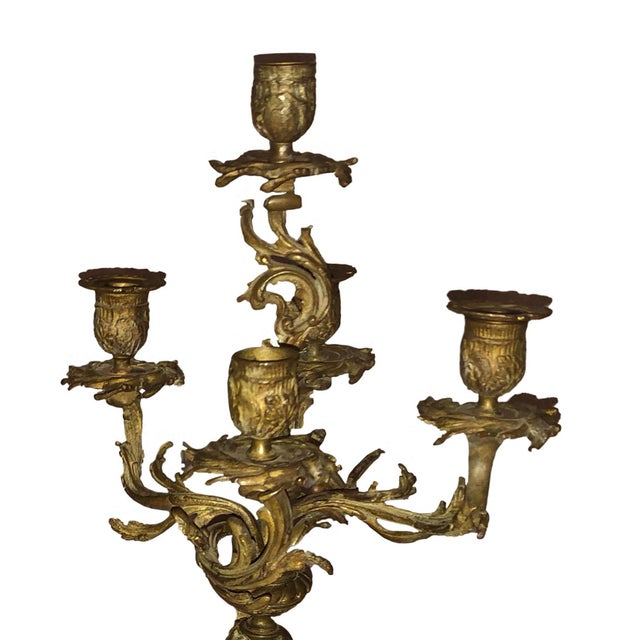 French French Bronze Antique Candelabra - a Pair For Sale - Image 3 of 9