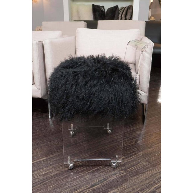 Modern Custom Acrylic Black Mongolian Side Chair For Sale - Image 3 of 6