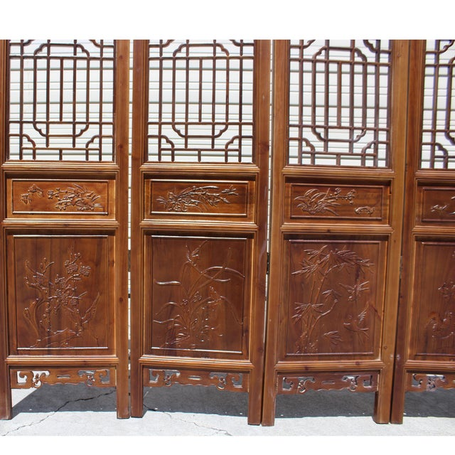2010s Chinese Brown Geometric Pattern Theme Wood Panel Floor Screen For Sale - Image 5 of 8
