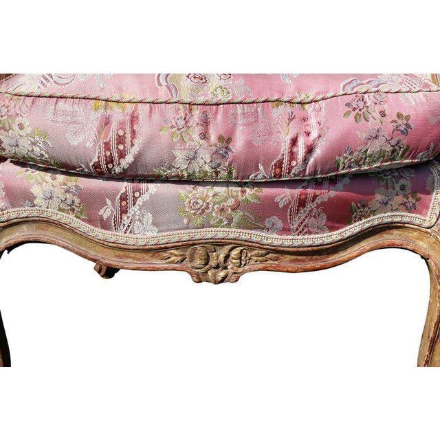 Louis XV Style Walnut and Painted Bergere Chair - Image 5 of 10