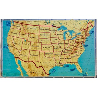 1968 Denoyer-Geppert School Atlas America Wall Map For Sale