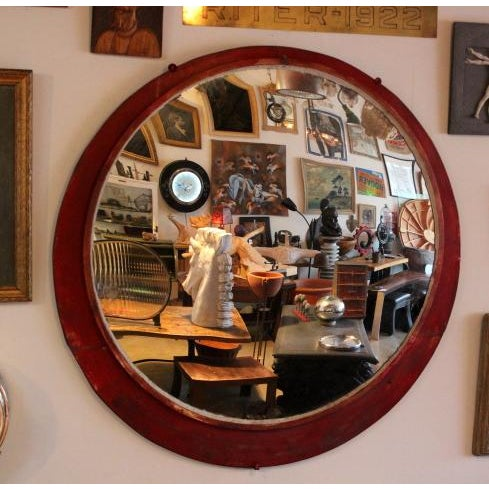 Metal 1950s Large Antique Convex Mirror For Sale - Image 7 of 7