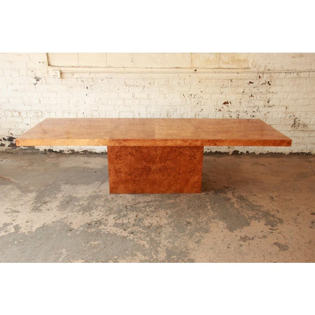Milo Baughman Burled Olive Wood Pedestal Dining Table - Image 2 of 11