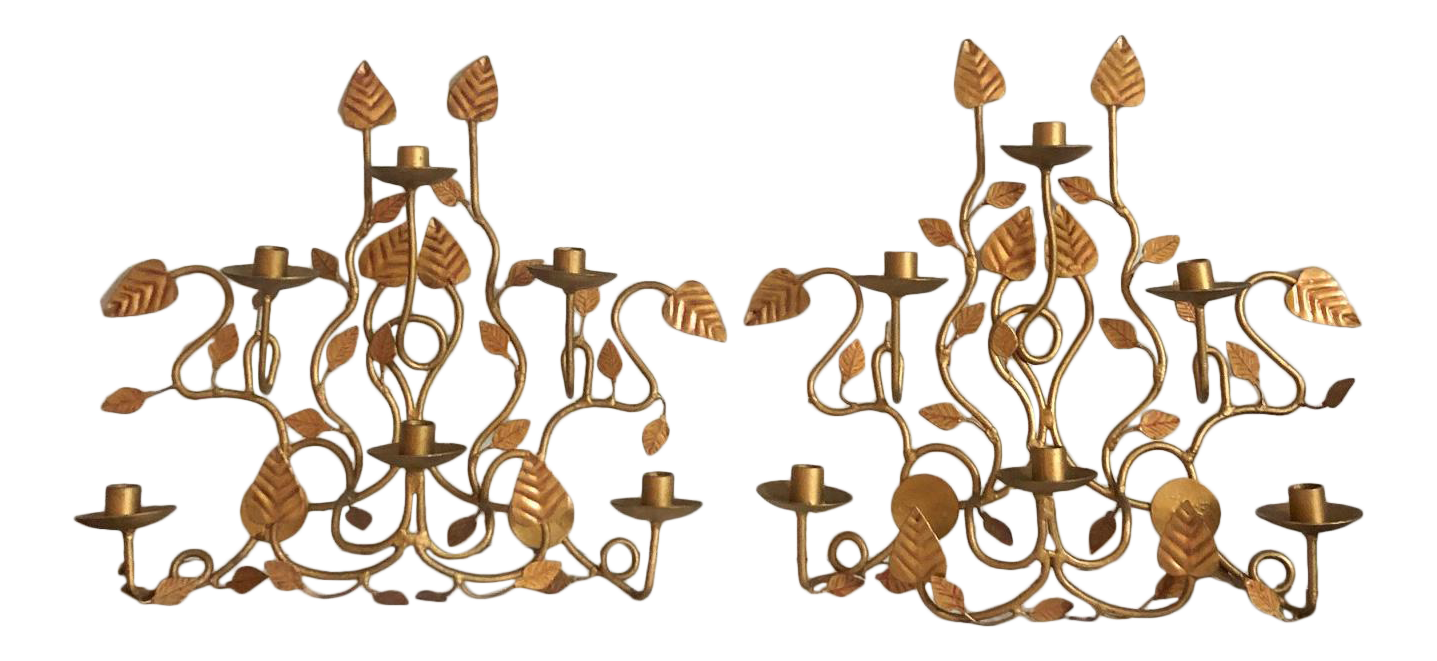 Large Gold Branch Sconces Pair Chairish