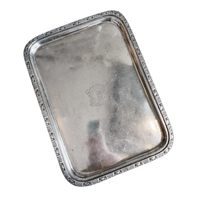 1951 Silver Serving Tray From the Waldorf-Astoria Hotel For Sale