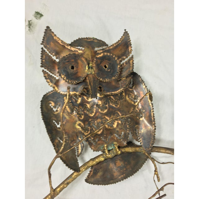 1960s Brass & Copper Owl Wall Sculpture - Image 3 of 6