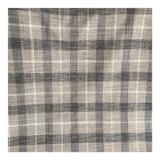 Grey & Beige Plaid Linen Fabric - 2 Yards For Sale