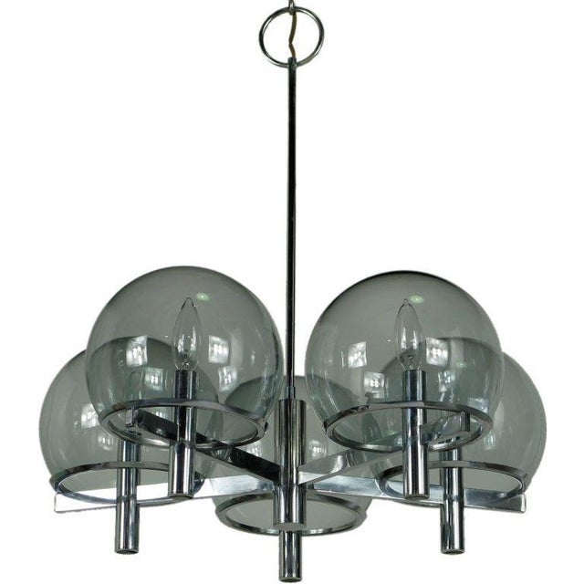 Silver Gaetano Sciolari Chrome & Smoked Glass Five-Arm Chandelier For Sale - Image 8 of 8