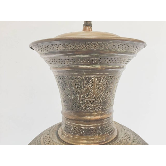 Islamic Antique 19th Century Middle Eastern Persian Oriental Brass Floor Lamp For Sale - Image 3 of 13