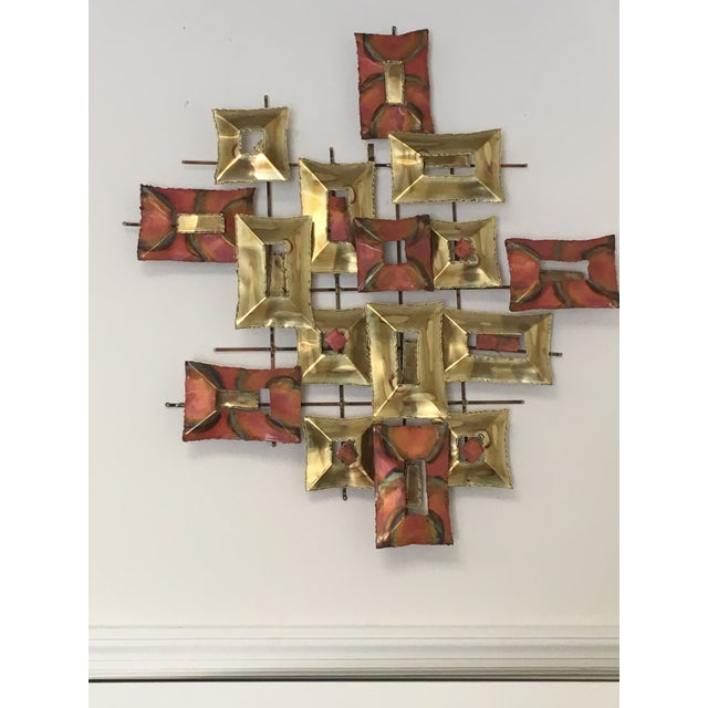 Abstract Expressionism 20th Century Brutalist Brass and Copper Wall Sculpture For Sale - Image 3 of 10
