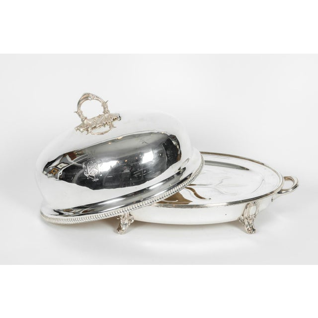 Chippendale English Silver Plate Venison Dish With Covered Dome For Sale - Image 3 of 13