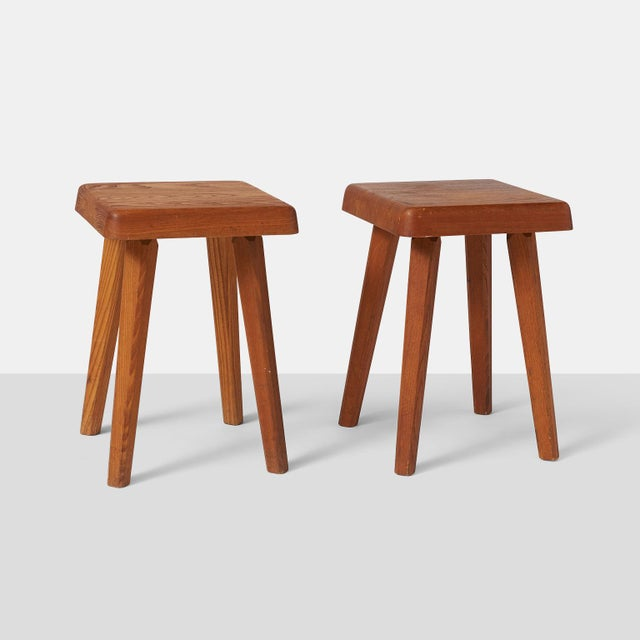 Elm Stools by Pierre Chapo Model S01A - a pair For Sale - Image 7 of 7
