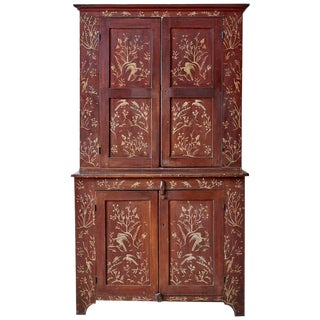 18th Century English Chinoiserie Painted Cupboard Cabinet For Sale