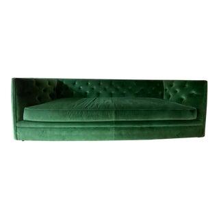 Room & Board Custom Green Velvet Sofa For Sale