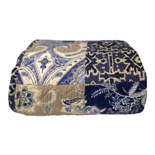 Blue Boho Quilt Set & Navy Bedskirt For Sale