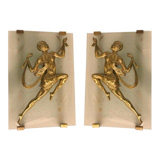 French Art Deco Female Dancer Sconces - a Pair For Sale