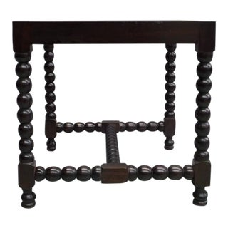 Pair of Sober Modern Neoclassical Carved Wood Stacked Ball Benches / Stools