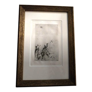Late 19th Century Antique French Pierre August Renoir on the Beach at Berneval Drypoint Print For Sale