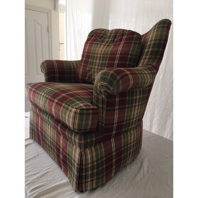 Country Sherrill Plaid Accent Chair For Sale - Image 3 of 8