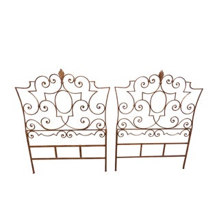 Salvadori Italian Gilt Metal Twin Headboard - Pair