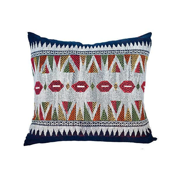 A beautiful custom pair of vintage hill-tribe Laotian silk and cotton embroidered, indigo pillows, cinnamon linen backs...