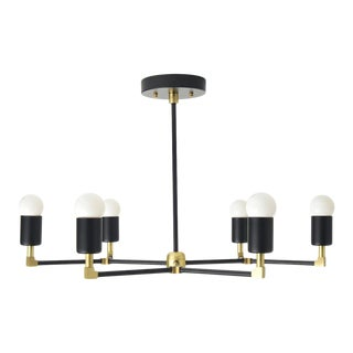 """Budapest Chandelier, Matte Black & Brass with 9"""" Rod For Sale"""
