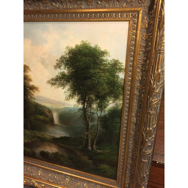 c220492e5e16 Beautiful landscape canvas oil painting displayed in a thick ornate wood  frame with antique gold gild