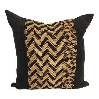 Kuba Textured Black/Brown Mud Cloth Pillow