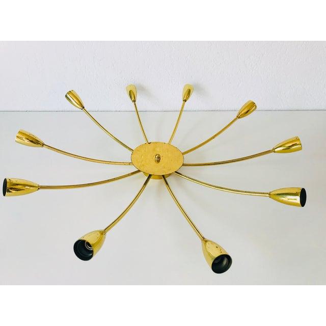 1960s Mid-Century Modern Brass Sputnik 8-Arm Chandelier, Germany For Sale - Image 6 of 11