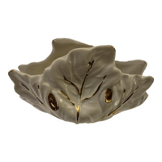 Mid Century Modern Capodimonte Porcelain Leaf Pattern Napkin Holder For Sale